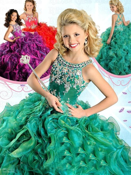 2016 Gorgeous Girl's Pageant Dresses Lovely Crew Neck with Beads Ruffles Organza Full Length Child Rhinestones Birthday Party Gowns RG6568