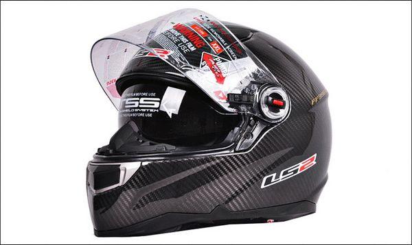 2015 nuevos cascos de la motocicleta de la fibra de carbono de Dual-lens LS2 FF396 casco de la motocicleta del motocross del casco de la motocicleta de la cara llena con el saco hinchable