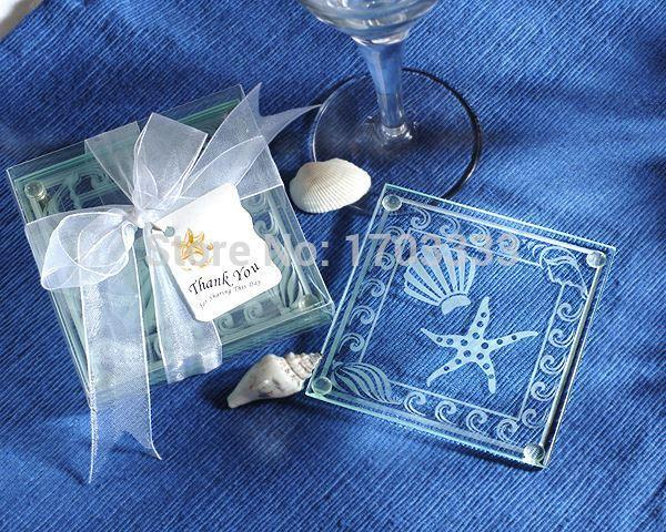 Wholesale Beach Themed Glass Coaster Wedding Favors- Set of 2 100sets=200PCS DHL Fedex Free shipping 0915#15