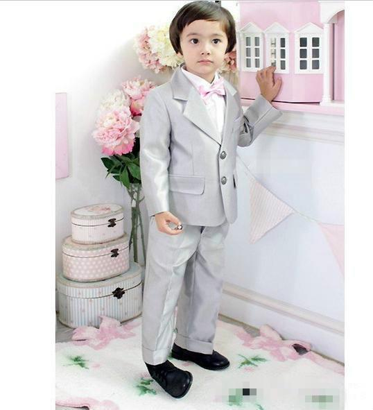 Grey Boys Formal Wear Suits For Boy Notch Lapel Baby Kids Formal Suit Wedding Party Children Tuxedos(Jacket+Tie+Pants)