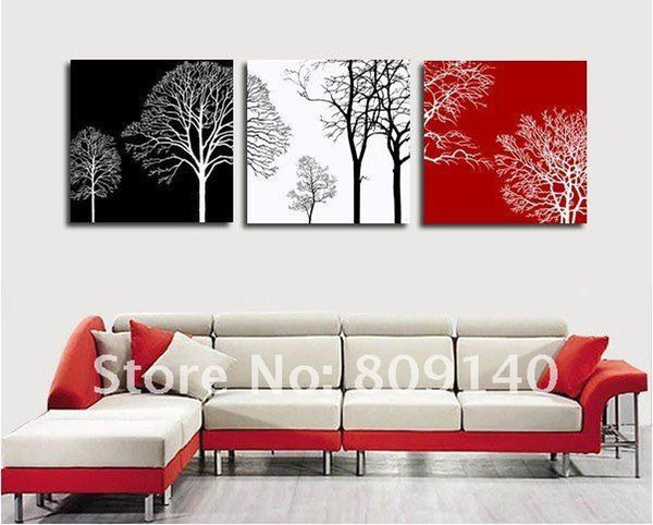 abstract tree black white red theme oil painting canvas artwork high quality handmade home office hotel wall art decor decoration free ship