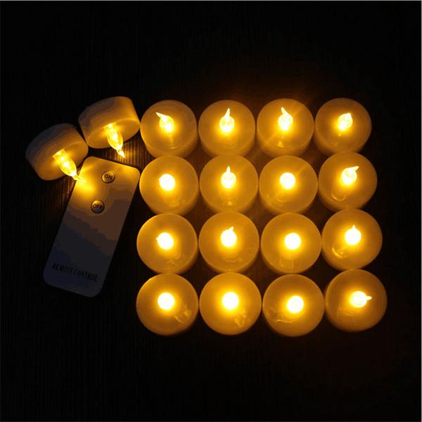 12 Yanıp Sönen Elektronik Led Alevsiz Mumlar paketi Uzaktan Kumanda Glow Çay Işık Kehribar Düğün Noel Için Deco