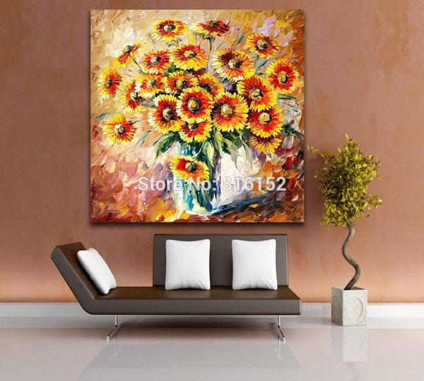 Modern Wall Art Sun Floral Elegant Flowers Palette Knife Oil Painting Printed On Canvas Picture For Office Home Decoration