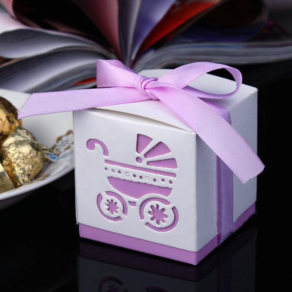 Baby Shower Favor Boxes Square 6*6*6cm Paper Gift Box with Hollow Baby Car and Ribbon Decor Party Favours Special Wedding Candy Boxes