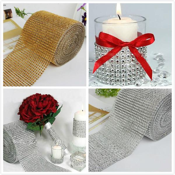 Wedding Decor Gold Silver Diamond Mesh 1 yards Party Decorations Trim Wrap Roll Sparkle Rhinestone Crystal Bling Cake Ribbon