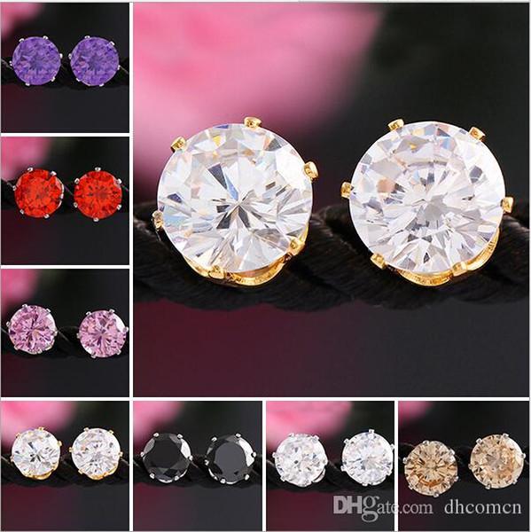 Süßigkeit-Farbe 18K Gold 8MM Kristallohrringe für Frauen arbeiten neue Zircon Cz glänzende Ohrring-edlen Schmuck-Großhandelspreis-Frauen-Ohrring um