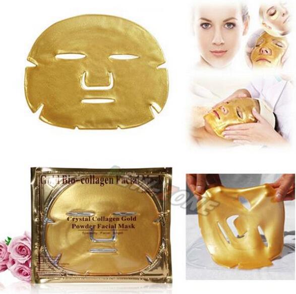 Oro Bio-Collagen Máscara Facial Mascarilla Crystal Gold Powder Collagen Anti-envejecimiento blanqueamiento hidratante astringe Gold Face Mask con cajas
