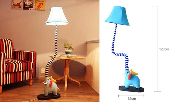 carino elefante tipo lampada da terra lampada del fumetto camera da letto soggiorno camera dei bambini lampada da tavolo in tessuto rustico lampada da lettura notturna
