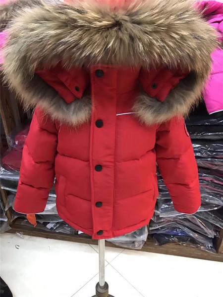 Großhandel Thick Winterkinder Jacken Mädchen Jungen Jacke Mit Kapuze Kunstpelzkragen Kind Oberbekleidung Baumwolle Gefütterte Baby Boy Snowsuit L112