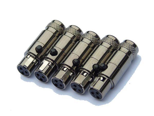 Бесплатная доставка 5 шт./лот женский мужской аудио разъем микрофона с TA3FSH TA3MSH мини XLR разъем, черный хромирование стальной оболочки