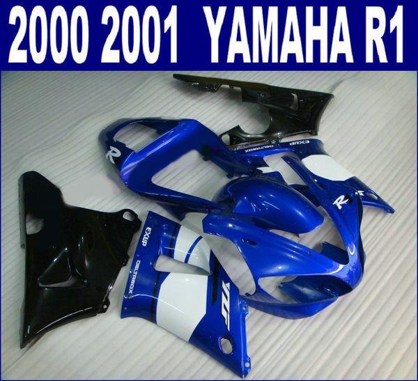 Free customize fairings set for YAMAHA 2000 2001 YZF R1 fairing kit YZF1000 00 01 blue white black motobike RQ42 + 7 gifts