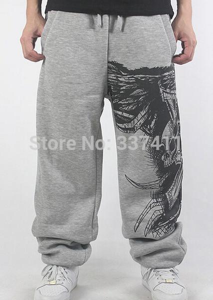 Wholesale-2015Black/Gray Lovers SweatPants Sport Pants Hip Hop Designer Fashion letter Print Men Bulls street dance Trouser HipHop joggers