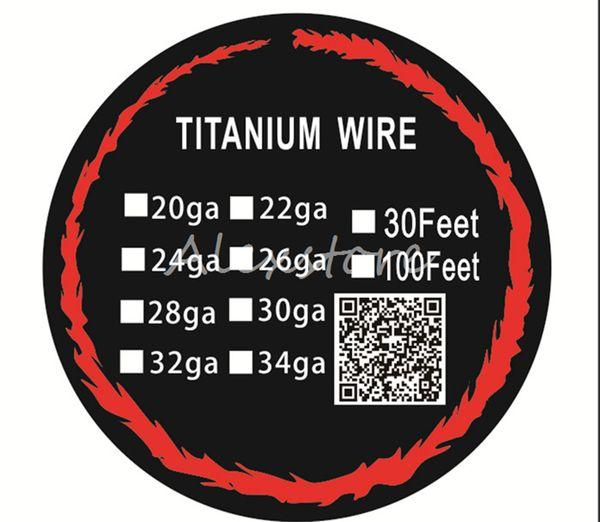 20pcs Titanium Wire Resistance 30 Feet TA1 Ti AWG 26g 28g 30g Gauge Coil Roll For Temp Control TC Vape Mod Electronic cigarettes