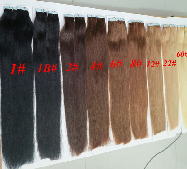 Top quality 50g 20pcs 25pcs Glue Skin Weft PU Tape in Human Hair extensions 18 20 22 24inch Brazilian Indian hair extension
