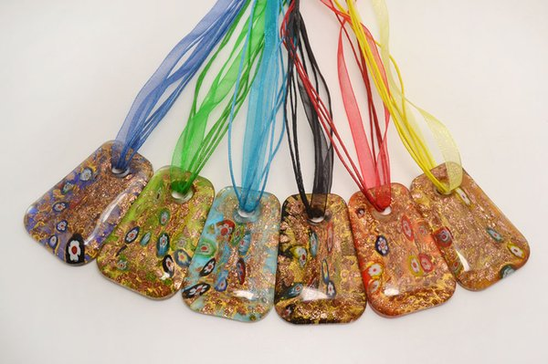 vendita all'ingrosso 6 pezzi colore misto italiano veneziano Trasparente Quadrato Millefiori Murano vetro murano pendente 3 + 1 collane di seta nl0174m * 6