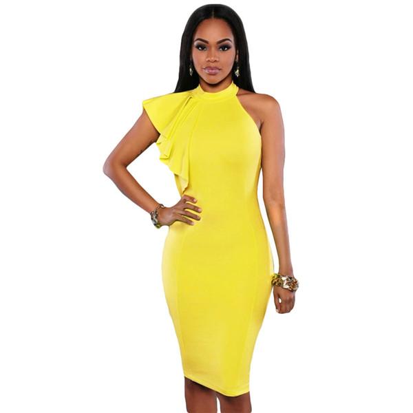 c8a3712fa8 SEBOWEL One Shoulder Womens Dresses Butterfly Sleeve Club Ruffles Pencil  Midi Dress Fitted Bodycon Summer Dress