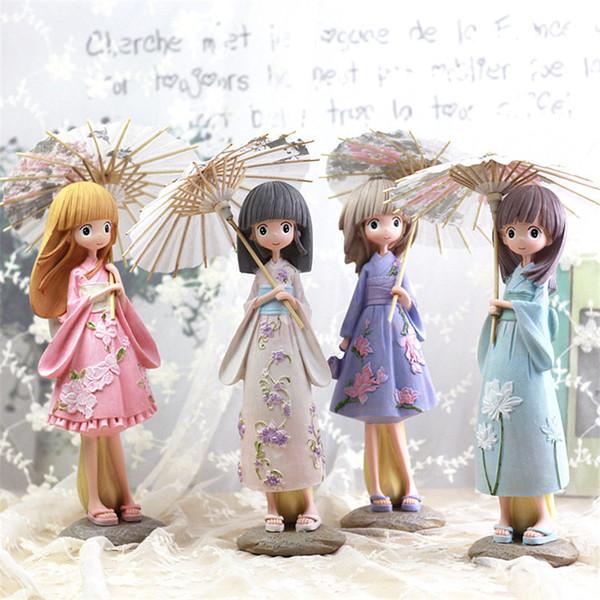 Cartoon kawaii Regenschirm Mädchen Figuren Japan Kimono Mädchen Harz Handwerk Miniatur Figuren Geburtstag Geschenk Statuette Dekoration