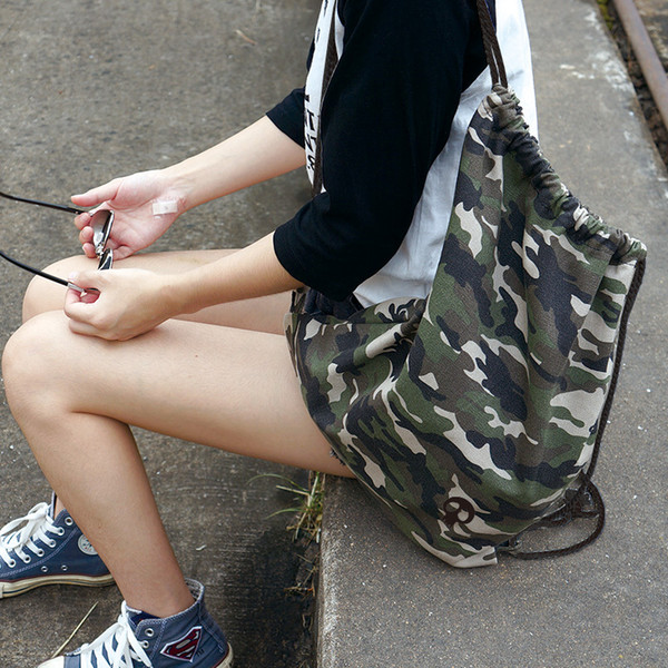 U Pick Washable Canvas Camouflage Drawstring Backpack For Clothes ...