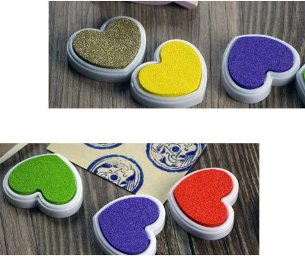 Finger Paint 12Colors Heart Shape Inkpad Colorful Cartoon Inkpad Ink Stamp Ink Pad set for DIY funny Work Scrapbooking Album