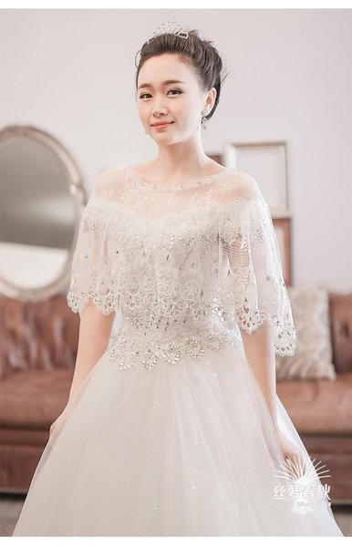 2018 Shrug Cape Stole Wrap Lace Crystal Bridal Prom Evening Party Wedding Bolero In Stock Regular Size Sparkly Shawl Women Fashion Elegant