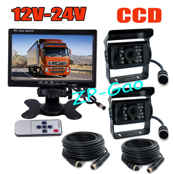 "top popular 12V-24V 4Pin 7"" LCD Monitor Bus Truck Rear View Kit + 2x CCD 18 IR Car Reverse Backup parking Camera Waterproof 2021"