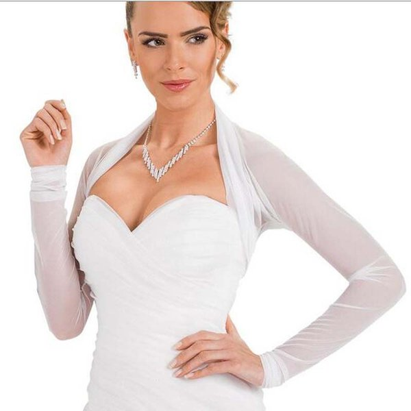 American European Design Long Sleeves Wholesale/Retail Price White Tulle Bridal Jacket 100% Good Quality Wedding Bolero