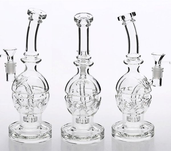 Dab Rigs Skull Glass Bongs clear 26cm Tall 14.4mm Joint Heady Shop Fab Egg Oil Rigs Glass Bongs Perc cheap Hookahs