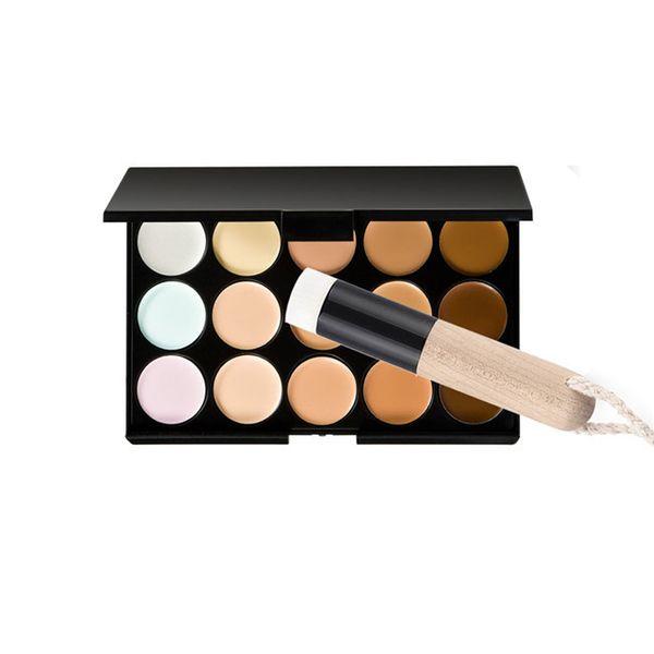 Beauty Brand 15 Colors Concealer Makeup Camouflage Palette Nose Pore Clear Brush Set fanshin women makeup tools hot sale