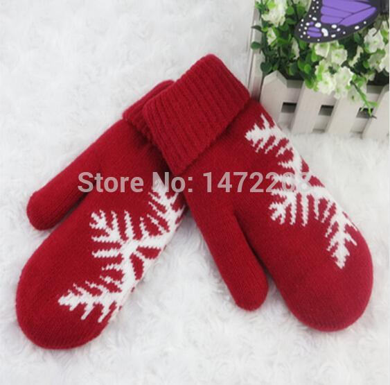 Wholesale-Wholesale Free Shipping Christmas Snow Flower Imitation Cashmere Knitting Thick Warm Red Gloves Women's Winter Fashion Mittens