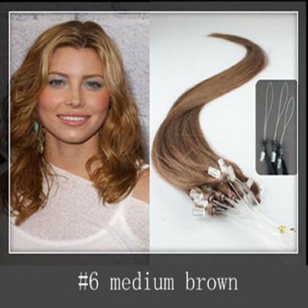 2015 Best Selling virgin Peruvian micro loop hair extensions 1.0 gram per strand 150 strands per Pack #6 light brown dhl free shpping