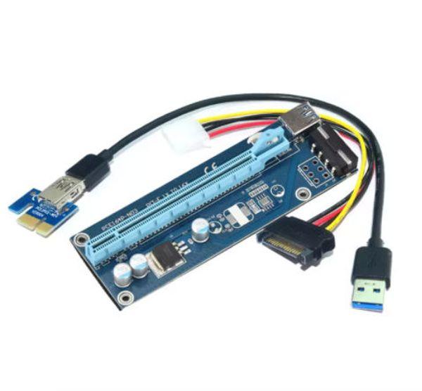 PCI-E 1X para 16X placa de conversão de extensão PCI-e por sua vez pcie placa de adaptador de 60 cm cabo pcie riser cartão para bitcoin mineiro DHL frete grátis