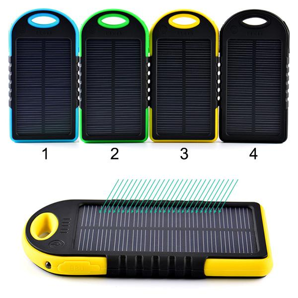 High Quality 5000 mAh Safe Li-polymer Dual USB Port Portable Outdoor Solar Charger Power Bank Waterproof Shockproof Dustproof