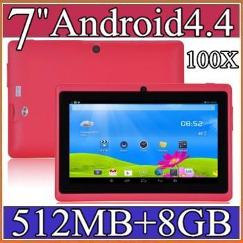 "best selling 100X 7 inch Android4.4 Google 3000mAh Battery Tablet PC WiFi Quad Core 1.5GHz 512MB 8GB Q88 Allwinner A33 7"" Dual Camera 2-7PB"