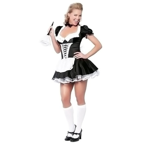 Maid Costumes One Piece Dress Cosplay Costumes Female Halloween Christmas Carnival Festival Holiday Halloween Costumes Black Solid Color Cost Play