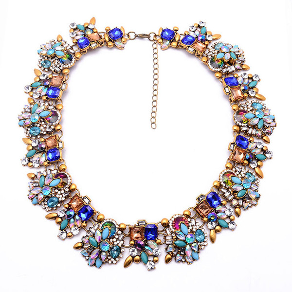 New Za Brand Shourouk Fashion Crystal Necklaces & Pendants Costume Choker Collar Necklace Statement Jewelry 9016