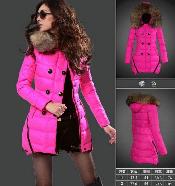 Womens parkas long down coats 2017 winter long coats women pink jacket Black White Raccoon fur collar jacket duck down jackets