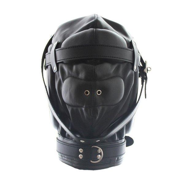 Kinky Fetish Sex Bondage Lockable Discipline Hood Soft Padded Leather Sensory Deprivation Mask with Snap On Dildo and Blindfold