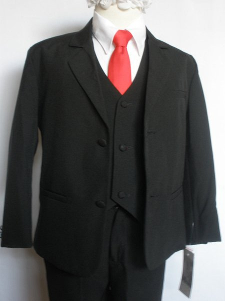 Fashion new black wedding groomsmen tuxedo flower girl party dress boy suit 3 (jacket + pants + vest) custom made