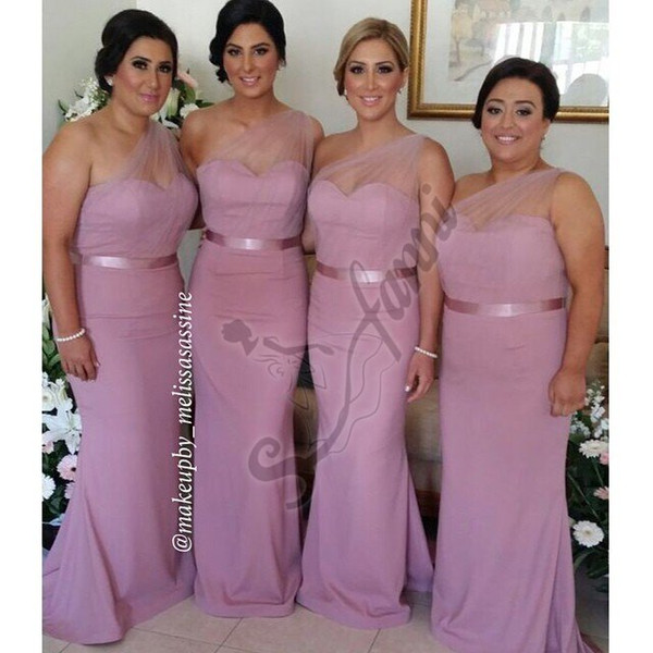 New Arrival Long Sheer One-Shoulder Sheath Bridesmaid Dress 2015 Evening Dress With Sash Belt Maid of honor Custom Made
