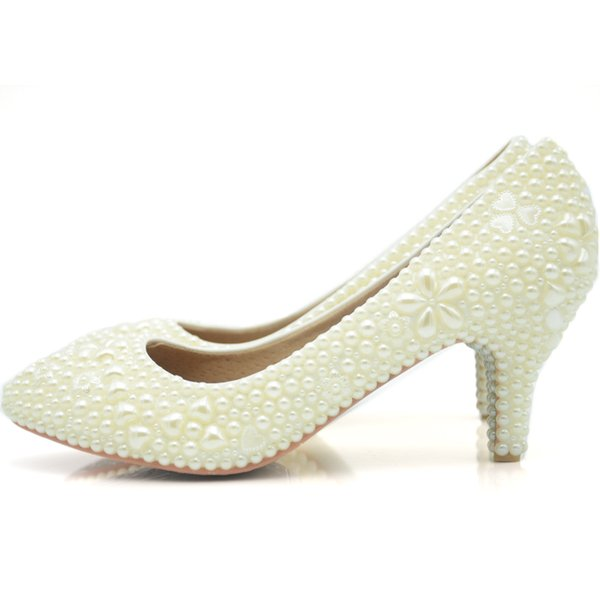 Custom Made Simple Pearl Wedding Dress Shoes Ivory Color Middle