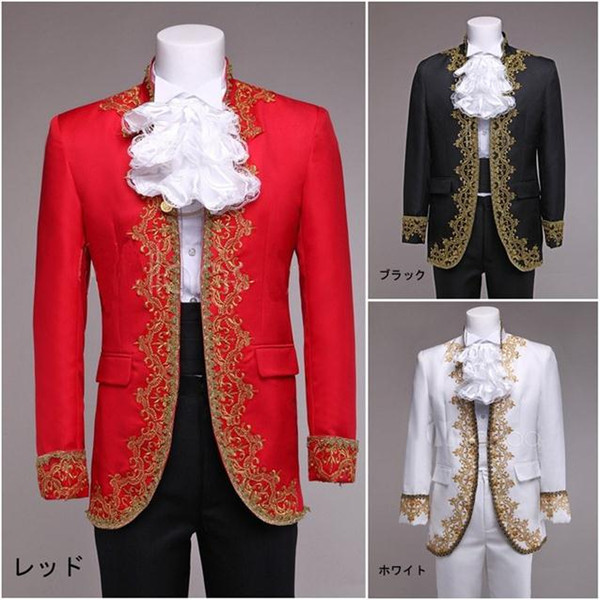 2015 Groom Tuxedos Black white red Wedding Suit For Men lace embroidery Mens Suits Slim Fit Three Piece Suit (Jacket+Pants+Girdle)