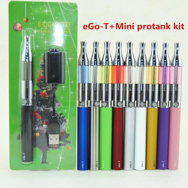 Hot eGo T Mini Protank Blister pack Kit 650mah 900mah 1100mah Ego-t Battery Mini protank vaporizer tank vape pens Colorful Ecig starter Kits