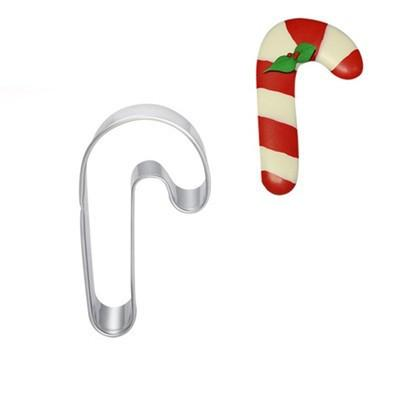 CC15 Stainless steel Christmas crutches cookie cutters metal mousse ring biscuit molds Cute Christmas fondant cutters dough sandwich cutters