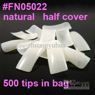 best selling Freeshipping 500 natural french nail art tips half cover Dropshipping