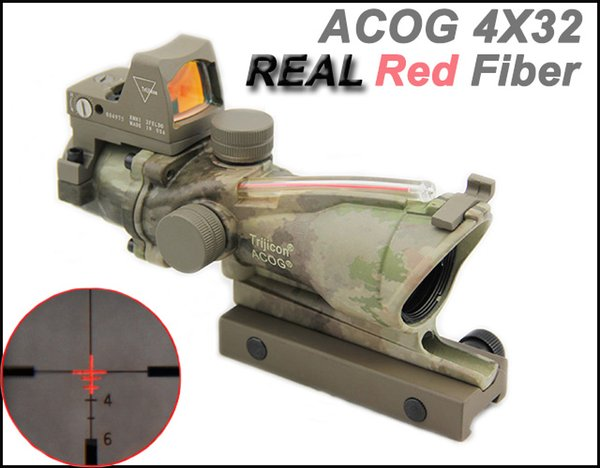 New Trijicon ACOG 4X32 Real Fiber Source Red Illuminated(Real Red Fiber) Tactical Rifle Scope w/ RMR Micro Red Dot Sight A-TACS