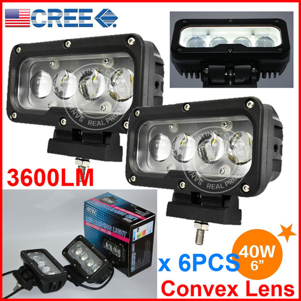 "6PCS 6"" 40W CREE 4LED*10W Driving Work Light Bar Rectangle Offroad SUV ATV 4WD 4x4 Spot Beam 9-60V 3600lm Auto Truck Forklift W/ Convex Lens"