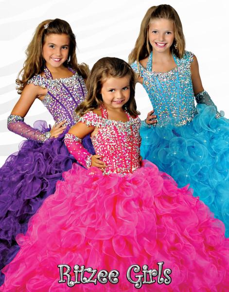 best selling Ritzee Girls 6679 Beads Halter Girls Pageant Dresses Little Girl Ball Gown Big Kids Full Length Cap Sleeve Custom Made Girls Party Gowns