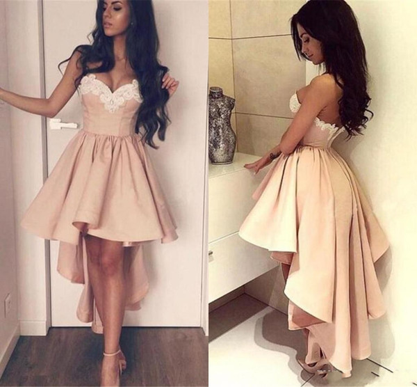 2019 High Low Short Prom Dresses Pearl Pink strapless Cocktail Dresses Sweetheart sexy Low Back Appliqued vintage dresses