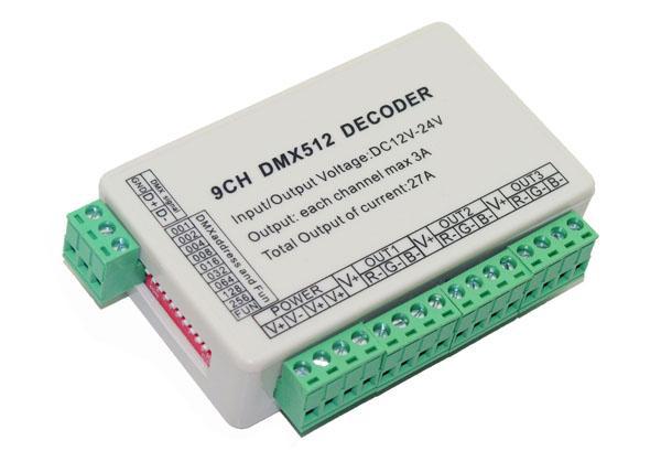 Controlador de atenuación dmx512 de 9 CH Easy, decodificador DMX 512 de 9 canales, controlador de salida LED de 9 canales 3grupo RGB, unidad DMX512