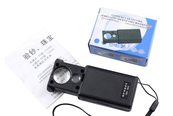 360pcs a box Dual-lens magnifier with light, stretch-type jewelry lens loupe 9881, antique jade belt can identify examines the paper money
